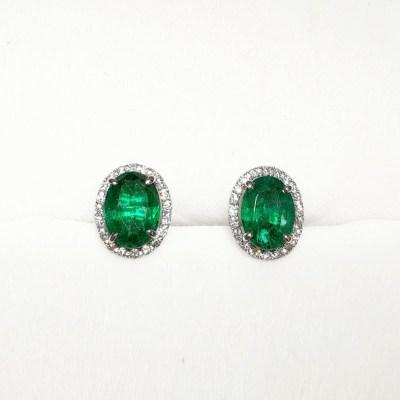 18ct White Gold Emerald & Diamond Oval Earrings
