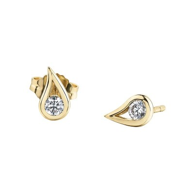 9ct Yellow Gold Diamond Earrings