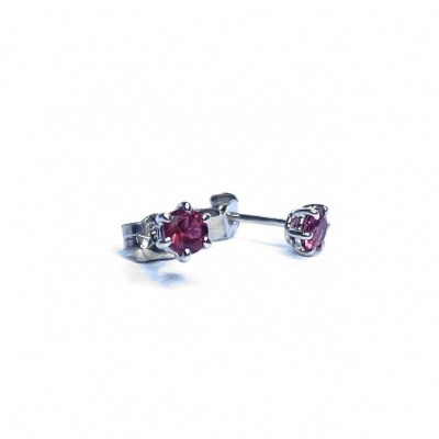 9ct White Gold Pink Tourmaline Earrings