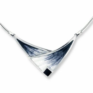 an image of a nilcole barr silver & onyx necklace