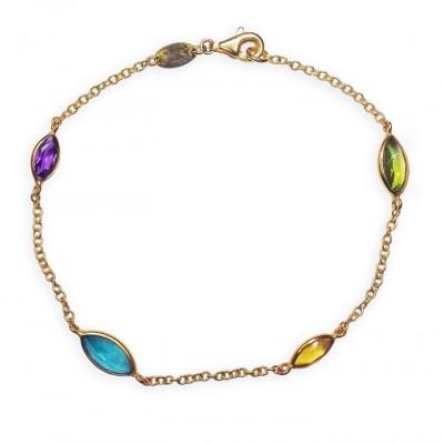 9ct Yellow Gold Multi-Gemstone Bracelet
