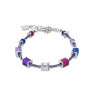 Image of coeur de lion geocube swarovski crystals purple blue bracelet