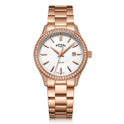 Rotary Oxford Rose Gold Stainless Steel Watch