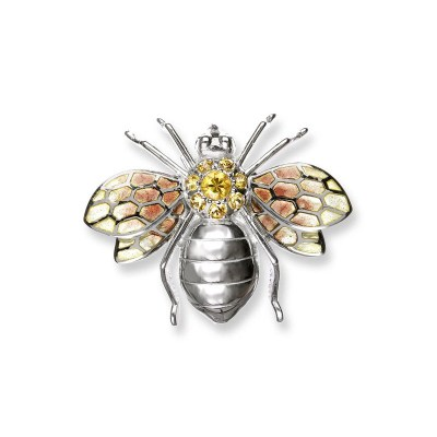 Nicole Barr Sterling Silver with Enamel & Yellow Sapphire Bee Brooch / Pendant