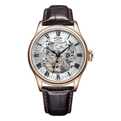 Mens Rose Gold Plated Skeleton Watch