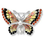 Nicole Barr Sterling Silver, Diamond, Pearl & Orange Enamel Butterfly Brooch