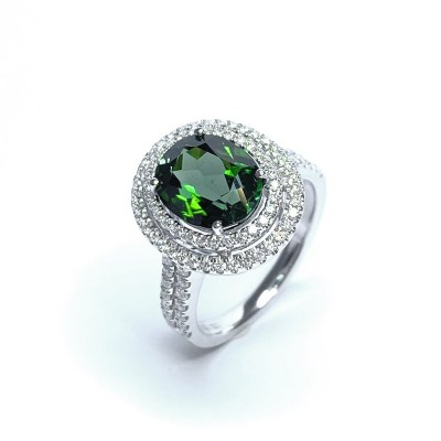 18ct White Gold Green Tourmaline & Diamond Ring