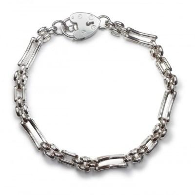 Handmade 2 Bars Gate and Lock Bracelet in Sterling Silver