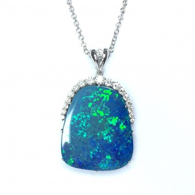18ct White Gold Opal Doublet & Diamond Pendant