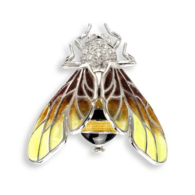 Nicole Barr Sterling Silver & White Sapphire Bee Brooch / Pendant