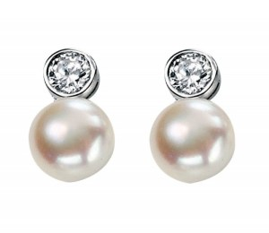 An Image of STERLING SILVER FRESH WATER PEARLS & CUBIC ZIRCONIA DROP EARRINGS