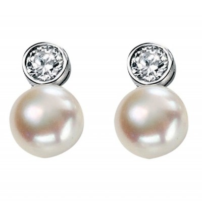 Sterling Silver Fresh Water Pearls & Cubic Zirconia Drop Earrings