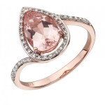 9ct Rose Gold Morganite & Diamond Tear Drop Ring