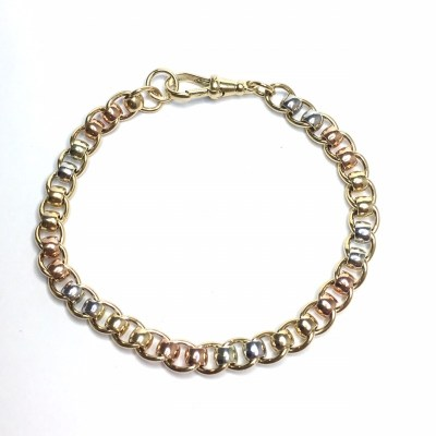 9ct Gold Rollerball Chain Bracelet with Alternating Yellow, Rose & White Gold