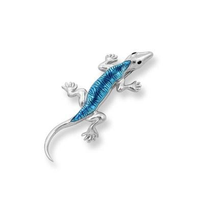 Nicole Barr Sterling Silver & Enamel Lizard Blue Brooch