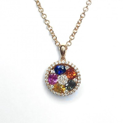 18ct Rose Gold Multicoloured Sapphire & Diamond Pendant