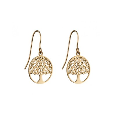 9ct Yellow Gold Tree Of Life Earrings