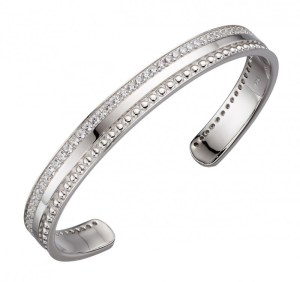 Image of cubic zirconia barrel textured bangle, silver