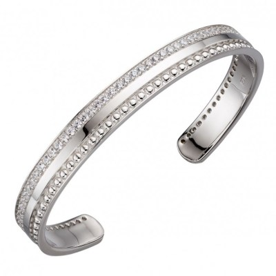 Cubic Zirconia Barrel Textured Bangle, Silver