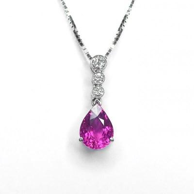 Pink Tourmaline Diamond Pendant & Chain in 18ct White Gold