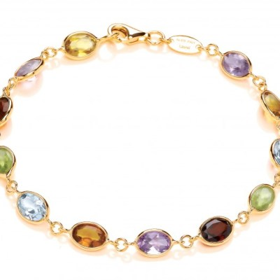 9ct Yellow Gold Multi Gemstone Bracelet