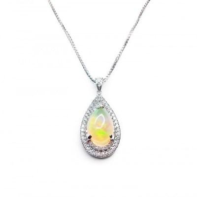Opal & Diamond Pendant in 18ct White Gold