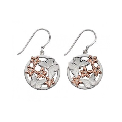 Silver And Rose Gold Plated Butterfly Earrings