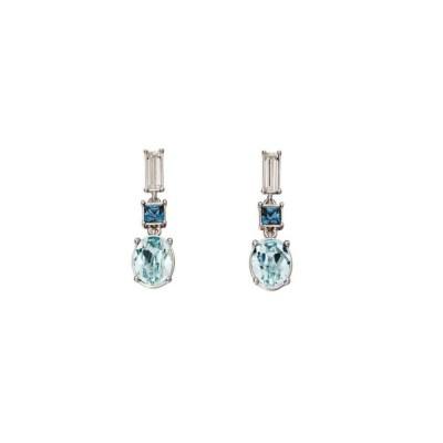 Silver Blue Swarovski Drop Earrings