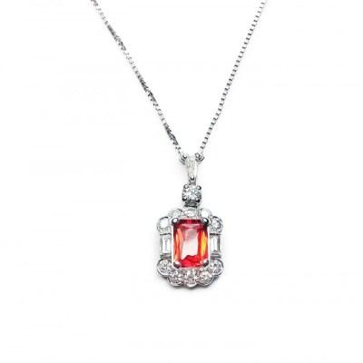 Orange Sapphire & Diamonds Pendant in 18ct White Gold