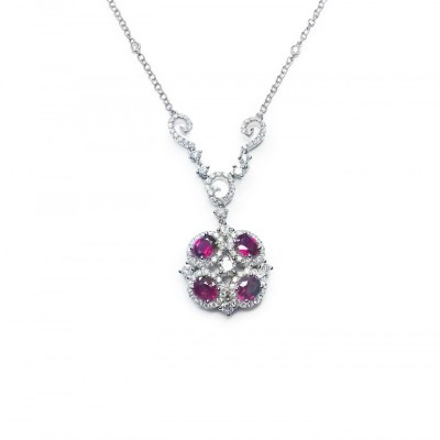 Ruby and Diamond Cluster Pendant in 18ct White Gold