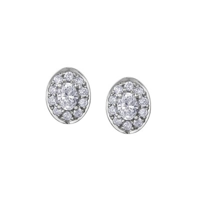 9ct Yellow Gold Oval Diamond Earrings