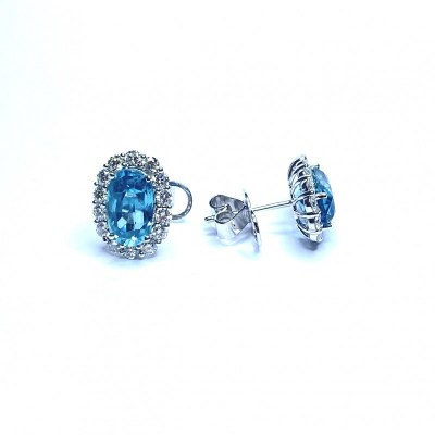 18ct White Gold Blue Zircon & Diamond Earrings