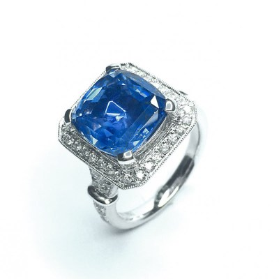 18ct White Gold Sri Lankan Blue Sapphire & Diamond Ring