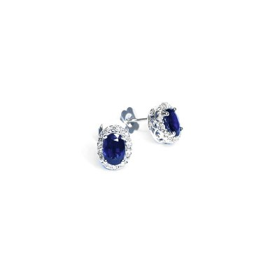 14ct White Gold Sapphire & Diamond Earrings