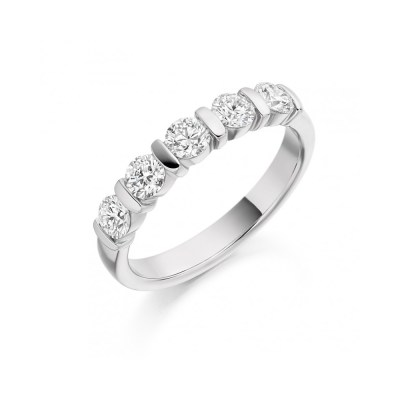 Round Brilliant Cut Diamond Bar Set Half Eternity Ring, 0.75ct