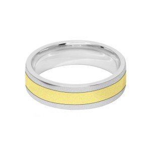 Image of 6mm 9ct two colour gold court shape wedding ring band