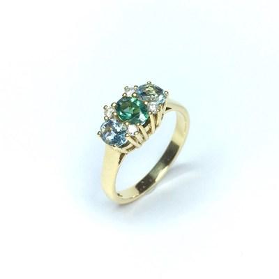Second Hand Tourmaline & Aquamarine Ring in Yellow Gold
