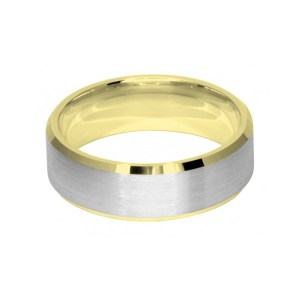 Image of 7mm two colour di-cut wedding ring band