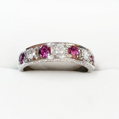 Second Hand Sapphire & Diamond Eternity Ring in 18ct White Gold