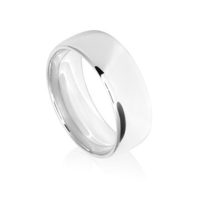 8mm Classic White Gold Wedding Ring Band