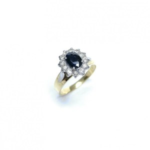 Image of second hand 18ct yellow gold sapphire & diamond ring
