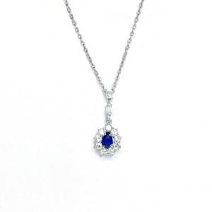 Image of second hand 18ct white gold sapphire & diamond pendant