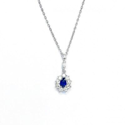 Second Hand Sapphire & Diamond Pendant in 18ct White Gold