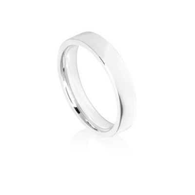 4mm White Gold Flat Court Wedding Ring Band