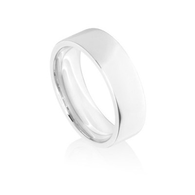 7mm White Gold Flat Court Wedding Ring Band