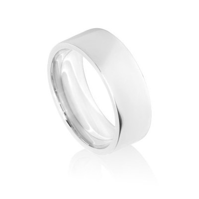8mm White Gold Flat Court Wedding Ring Band