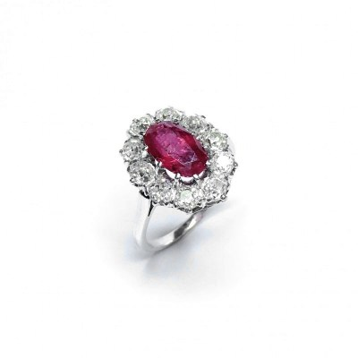 Second Hand 18ct White Gold Ruby & Diamond Ring