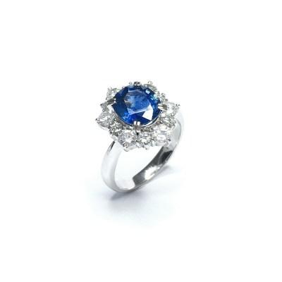 Second Hand Sapphire & Diamond Ring in Platinum