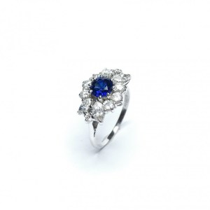 Image of second hand sapphire & diamond ring in 18ct white gold