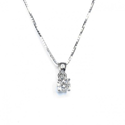 Second Hand 18ct White Gold Diamond Pendant, 0.45ct